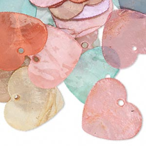 drop mix, capiz shell (dyed / coated), mixed colors, 25x25mm heart. sold per pkg of 50.