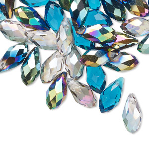drop mix, celestial crystal, ocean, 11.5x5.5mm-12.5x6mm faceted briolette. sold per pkg of 40.