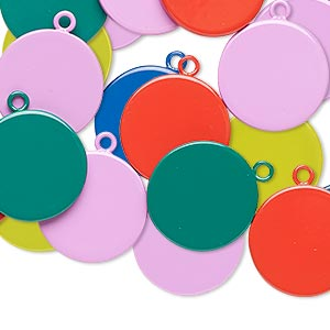 drop mix, enameled steel, mixed colors, 15mm round. sold per pkg of 12.
