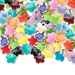 drop mix, epoxy and silver-plated brass, mixed colors, 6x6mm double-sided flower. sold per pkg of 120.