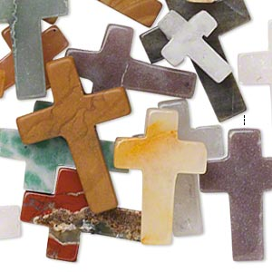 drop mix, multi-gemstone (natural / dyed / imitation), mixed colors, 12x9mm-24x17mm half-drilled cross, c grade. sold per pkg of 25.