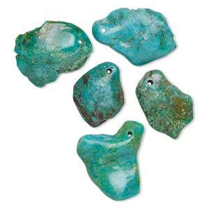 drop mix, turquoise (dyed / stabilized), blue, large to extra-large flat-sided nugget, mohs hardness 5 to 6. sold per pkg of 5.