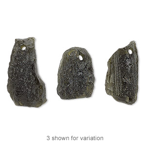 drop, moldavite (natural), small to medium hand-cut nugget, mohs hardness 5 to 5-1/2. sold individually.