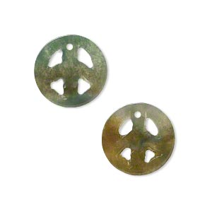 drop, moss agate (natural), 15mm peace sign, b- grade, mohs hardness 6-1/2 to 7. sold per pkg of 2.