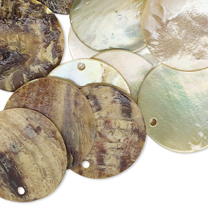 drop, mussel shell (dyed / coated), lime, 20mm flat round. sold per pkg of 25.
