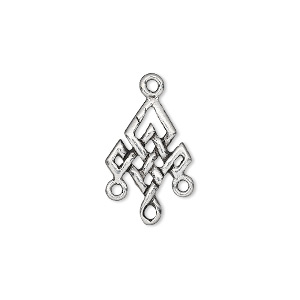 drop, pewter (tin-based alloy), 16x13mm double-sided celtic diamond with 3 loops. sold per pkg of 4.