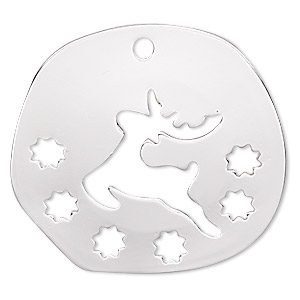 drop, silver-finished steel, 27mm two-sided domed irregular round with cutout deer and flowers. sold per pkg of 2.