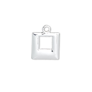 drop, silver-plated brass, 13x13mm square. sold per pkg of 6.