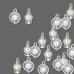 drop, silver-plated brass, 7mm wrapped round bead. sold per pkg of 100.