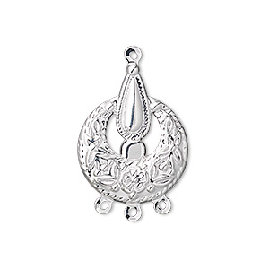 drop, silver-plated steel, 22x18mm fancy round with 3 loops. sold per pkg of 50.