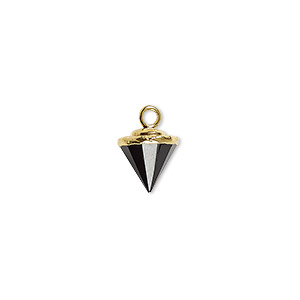 drop, smoky quartz (heated / irradiated) / electroplated gold / gold-finished sterling silver, 9x8mm-11x8mm hand-cut faceted cone. sold individually.