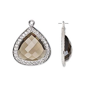 drop, smoky quartz (heated / irradiated) / white topaz (natural) / sterling silver, 20x20mm single-sided faceted teardrop. sold individually.