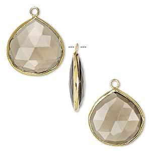 drop, smoky quartz (heated / irradiated) and gold-finished sterling silver, 20mm double-sided faceted teardrop. sold per pkg of 2.