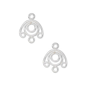 drop, sterling silver, 12x9mm wire circle with 3 loops. sold per pkg of 2.