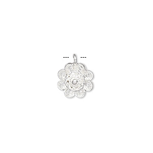 drop, sterling silver, 13.5x11mm diamond-cut flower. sold individually.