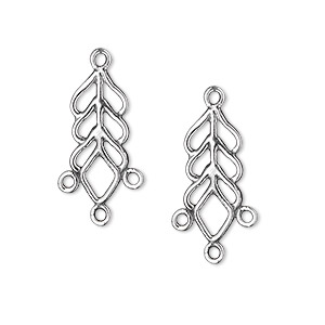 drop, sterling silver, 18x8mm fancy filigree leaf, 3 loops. sold per pkg of 2.