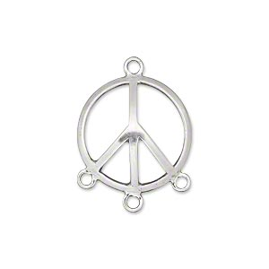 drop, sterling silver, 19mm single-sided domed round peace sign, 3 loops. sold individually.