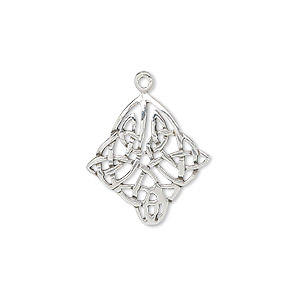 drop, sterling silver, 20x18mm celtic diamond. sold individually.
