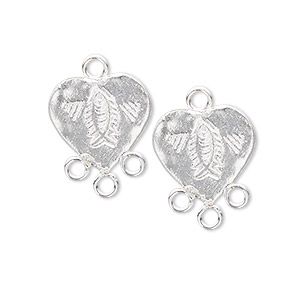 drop, sterling silver, 21x15mm heart with fish, 3 loops. sold per pkg of 2.