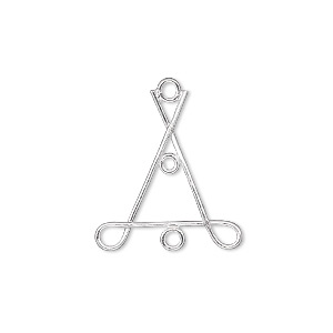 drop, sterling silver, 21x21x20mm wire triangle with 4 loops. sold per pkg of 2.