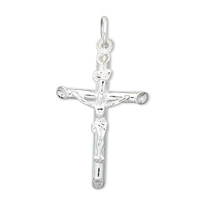 drop, sterling silver, 28x19mm plain rounded crucifix. sold individually.