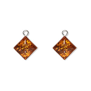 drop, sterling silver and baltic amber (heated), 11x11mm diamond. sold per pkg of 2.