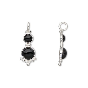 drop, sterling silver and black onyx (dyed), 21.5x8mm with 4mm and 5mm round cabochons. sold individually.