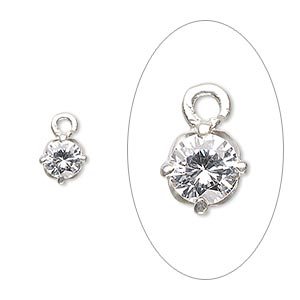 drop, sterling silver and cubic zirconia, clear, 6mm faceted round. sold per pkg of 2.