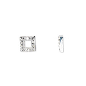 drop, sterling silver and cubic zirconia, clear, 8x8mm square. sold per pkg of 2.