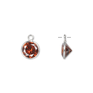 drop, sterling silver and cubic zirconia, garnet red, 9mm faceted round. sold per pkg of 2.