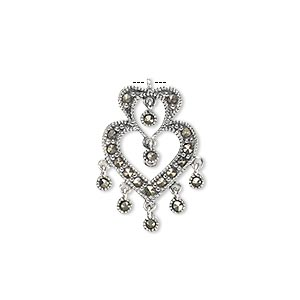 drop, sterling silver and marcasite (natural), 21x16mm open 2-heart. sold individually.