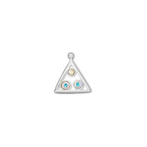 drop, sterling silver and swarovski crystals, clear ab, 12x12x12mm triangle. sold individually.