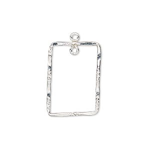 drop, sterling silver-filled, 22x16mm double-sided hammered and textured open rectangle with loop. sold individually.