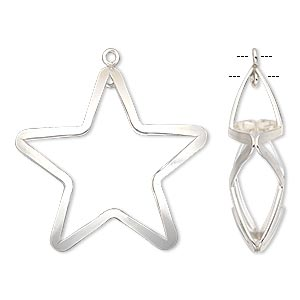 drop, sterling silver-filled, 28x26mm double-sided puffed open star with loop. sold individually.