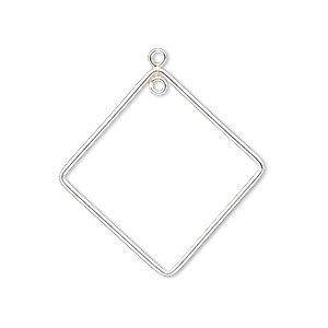 drop, sterling silver-filled, 28x28mm open diamond with loop. sold per pkg of 2.