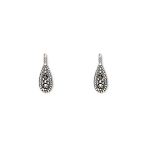 drop, sterling silver with marcasite, 7x4mm teardrop. sold per pkg of 2.