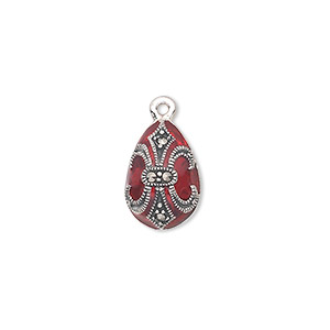 drop, sterling silver with marcasite and enamel, red, 15x10mm teardrop with fleur-de-lis design. sold individually.