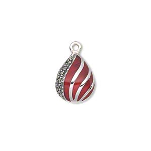 drop, sterling silver with marcasite and enamel, red, 15x11mm teardrop. sold individually.
