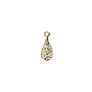 drop, swarovski crystal / epoxy / gold-plated brass, crystal passions, crystal golden shadow and pearl silk, 14mm pave drop pendant (67563). sold individually.