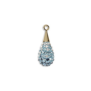 drop, swarovski crystal / epoxy / gold-plated brass, multicolored, 20mm pave drop pendant (67563). sold per pkg of 6.