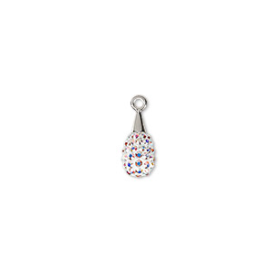drop, swarovski crystal / epoxy / rhodium-plated brass, crystal passions, crystal ab and white, 14mm pave drop pendant (67563). sold individually.