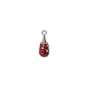 drop, swarovski crystal / epoxy / rhodium-plated brass, crystal passions, multicolored, 14mm pave drop pendant (67563). sold individually.