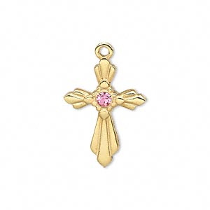 drop, swarovski crystals and gold-finished pewter (zinc-based alloy), pink, 24x17.5mm single-sided cross. sold individually.