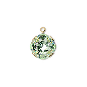 drop, swarovski crystals and gold-plated brass, chrysolite, 13x13mm diamond (18704). sold per pkg of 48.