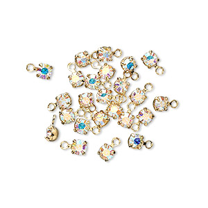 drop, swarovski crystals and gold-plated brass, crystal ab, 3-3.2mm round (17704), pp24. sold per pkg of 48.