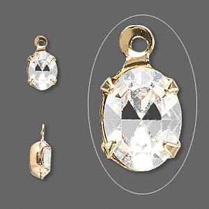 drop, swarovski crystals and gold-plated brass, crystal clear, 8x6mm oval. sold per pkg of 4.