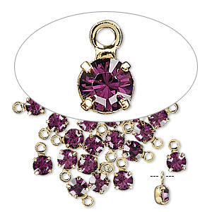 drop, swarovski crystals and gold-plated brass, crystal passions, amethyst, 4-4.1mm round (17704), pp32. sold per pkg of 24.