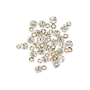 drop, swarovski crystals and gold-plated brass, crystal passions, crystal clear, 3-3.2mm round (17704), pp24. sold per pkg of 24.