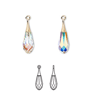 drop, swarovski crystals and gold-plated brass, crystal passions, crystal ab, 21x6mm faceted pure drop pendant (6532). sold individually.