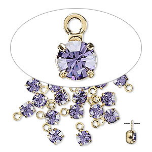 drop, swarovski crystals and gold-plated brass, tanzanite, 4-4.1mm round (17704), pp32. sold per pkg of 48.